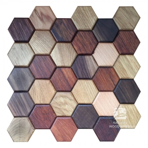Panel drewniany 3d - Hexagon – MIX - Natural Wood Panels